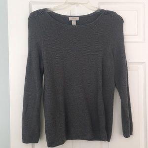 LOFT Gray Cable Knit Sweater, Button Shoulder